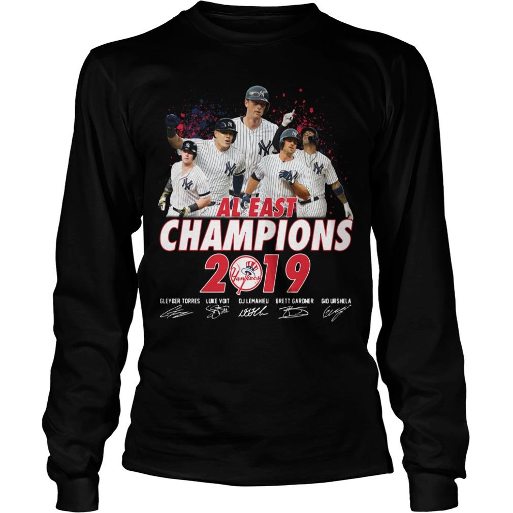 New York Yankees Al East Champions 2019 Signatures Longsleeve