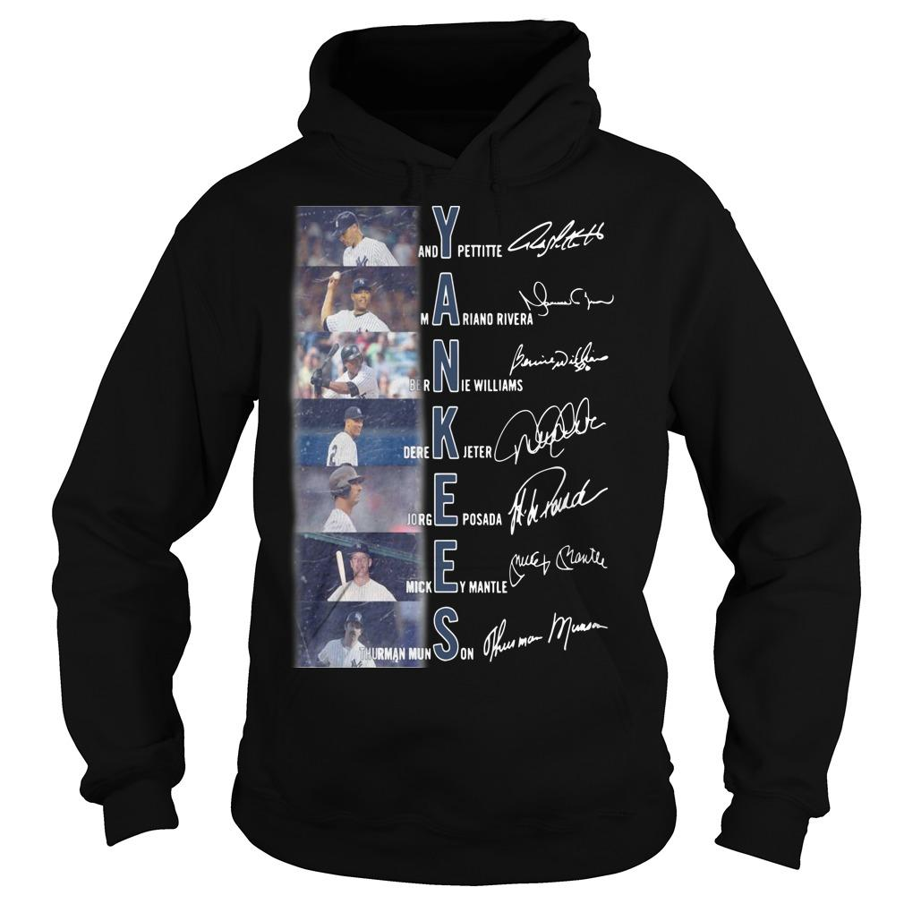 New York Yankees Andy Pettite Martiano Rivera Bernue Williams Signatures Hoodie