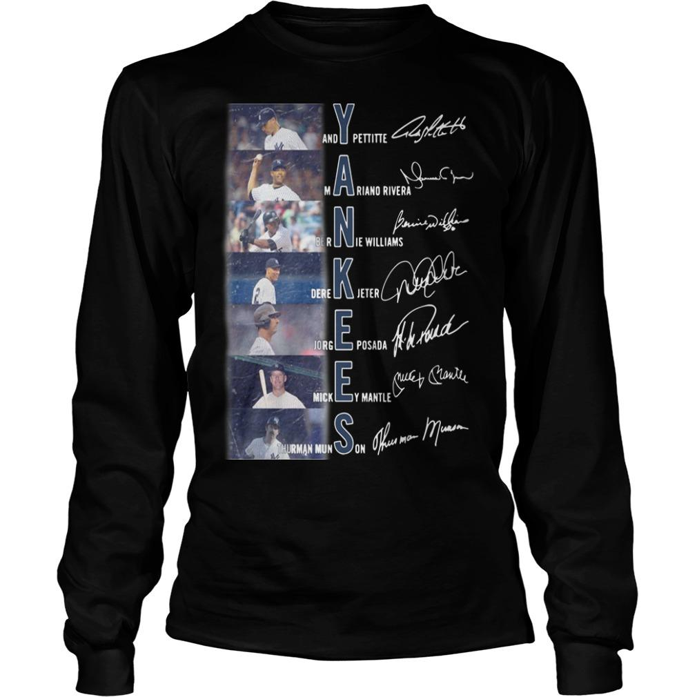 New York Yankees Andy Pettite Martiano Rivera Bernue Williams Signatures Longsleeve