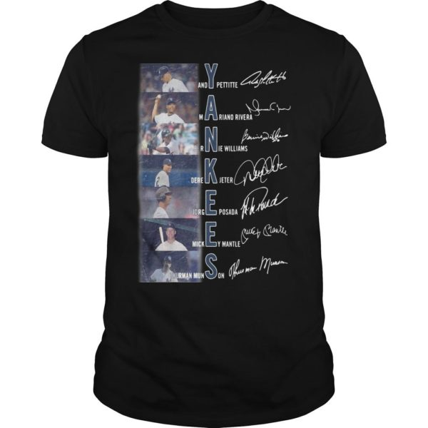 New York Yankees Andy Pettite Martiano Rivera Bernue Williams Signatures Shirt