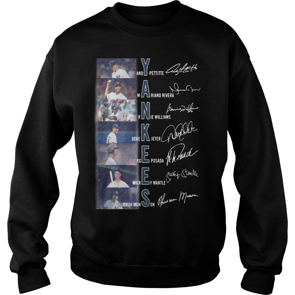 New York Yankees Andy Pettite Martiano Rivera Bernue Williams Signatures Sweater