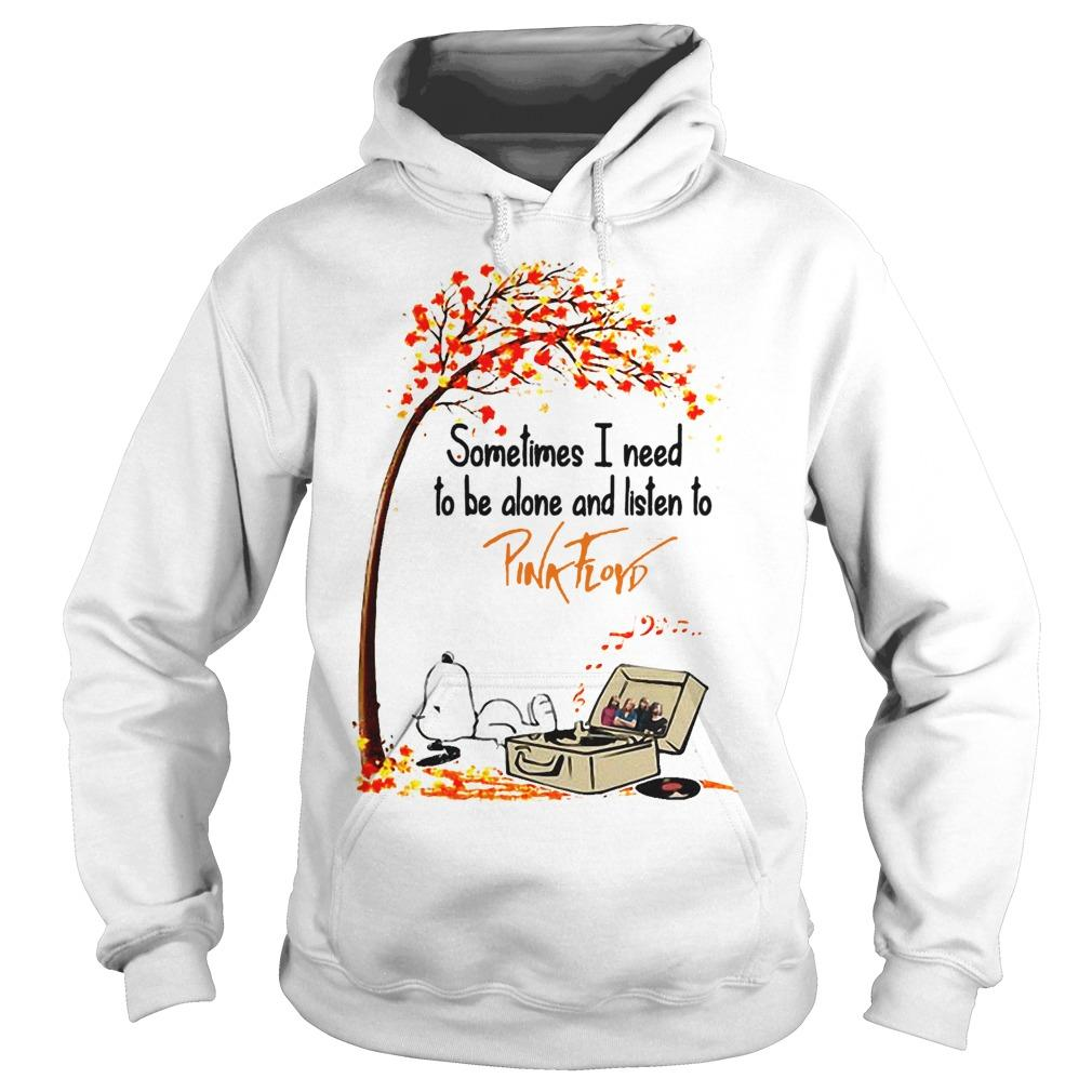 Snoopy Autumn Tree Sometimes I Need To Be Alone And Listen To Pink Floyd Hoodie