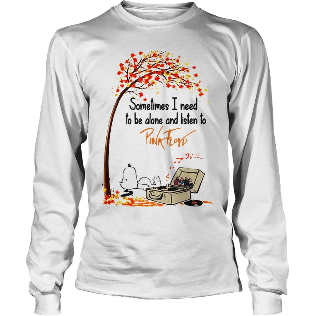 Snoopy Autumn Tree Sometimes I Need To Be Alone And Listen To Pink Floyd Longsleeve