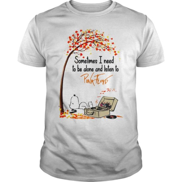 Snoopy Autumn Tree Sometimes I Need To Be Alone And Listen To Pink Floyd Shirt