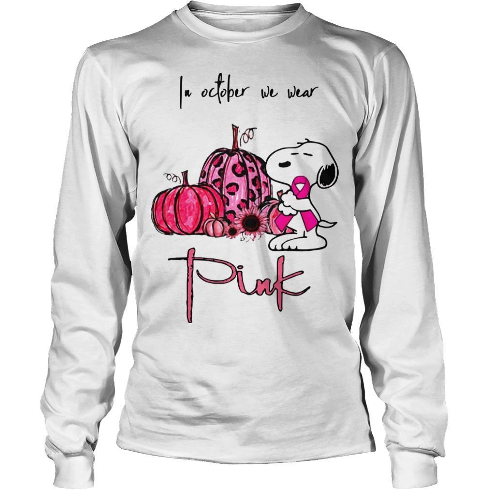 Snoopy Pumpkin In October We Wear Pink Longsleeve