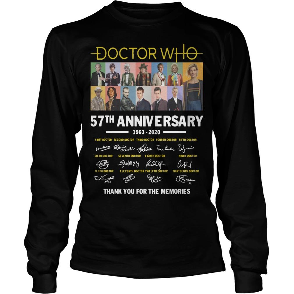 Doctor Who 57th Anniversary 1963 2020 Thank You For The Memories Signatures Longsleeve