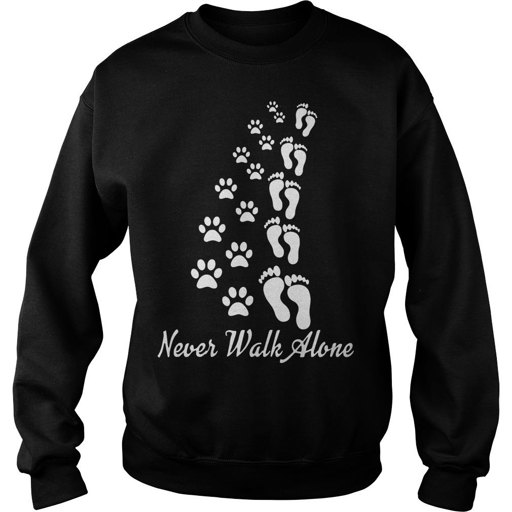 Footprint And Paw Dog Never Walk Alone Sweater