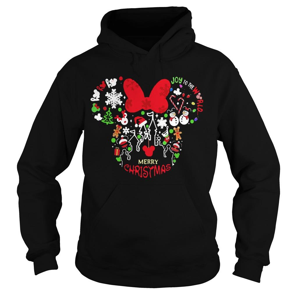 Minnie Mouse Face Merry Christmas Hoodie