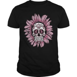 Pink Sunflower Hippie Breast Cancer Skull Shirt