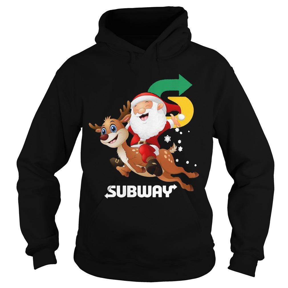 Santa Claus Riding Reindeer Subway Hoodie