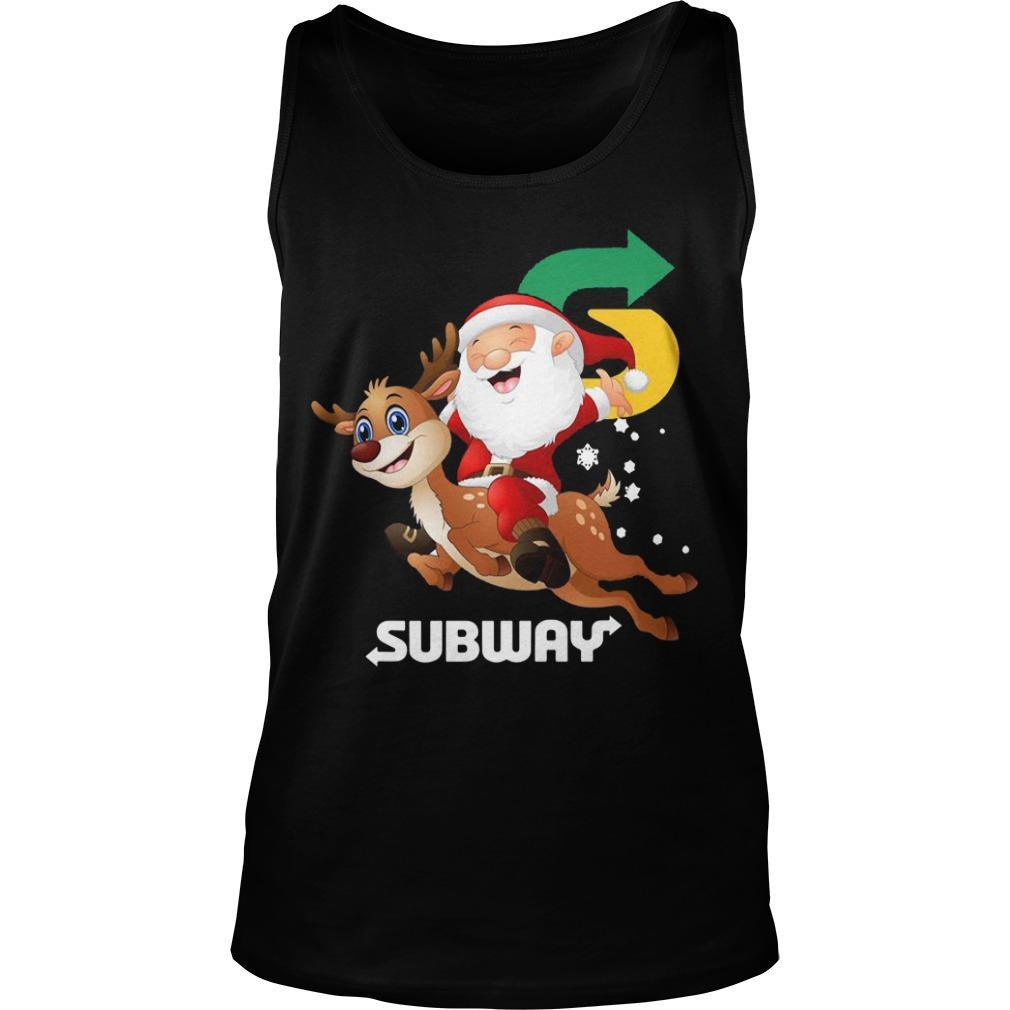 Santa Claus Riding Reindeer Subway Tank Top