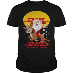 Santa Riding Deer Dhl Excellence Simply Delivered Shirt