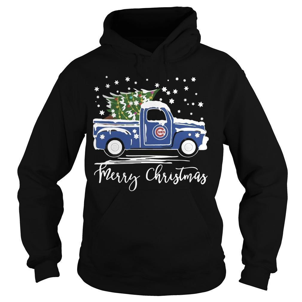 Chicago Cubs Truck Merry Christmas Hoodie