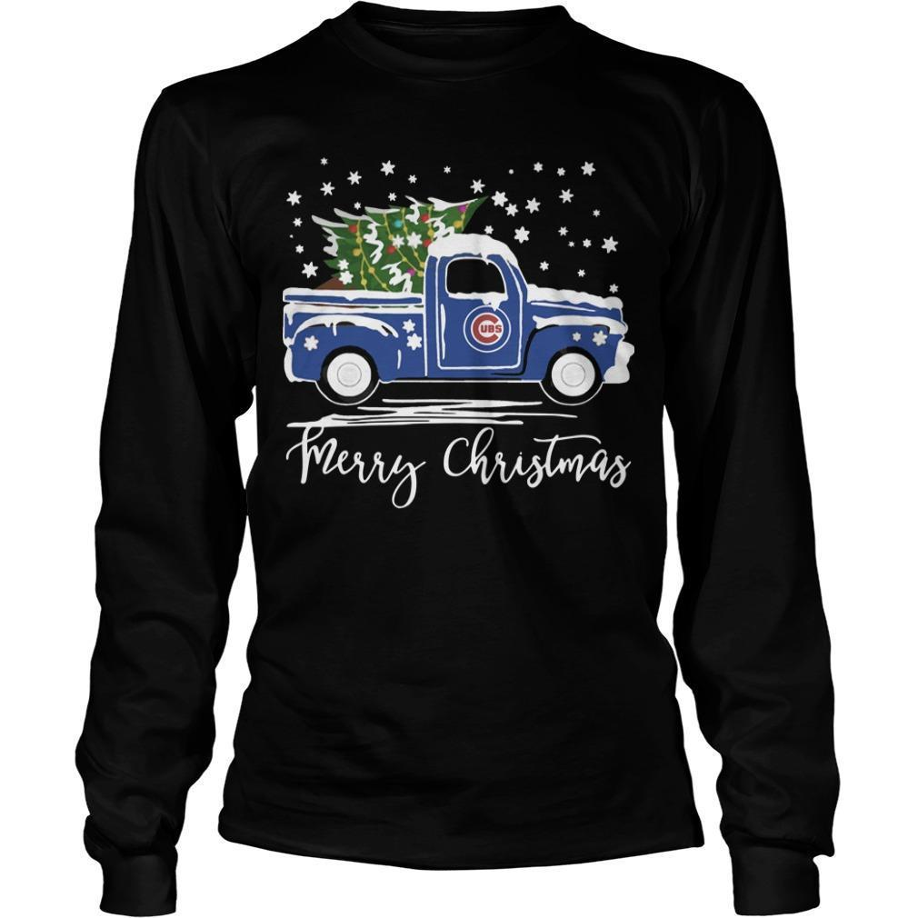Chicago Cubs Truck Merry Christmas Longsleeve