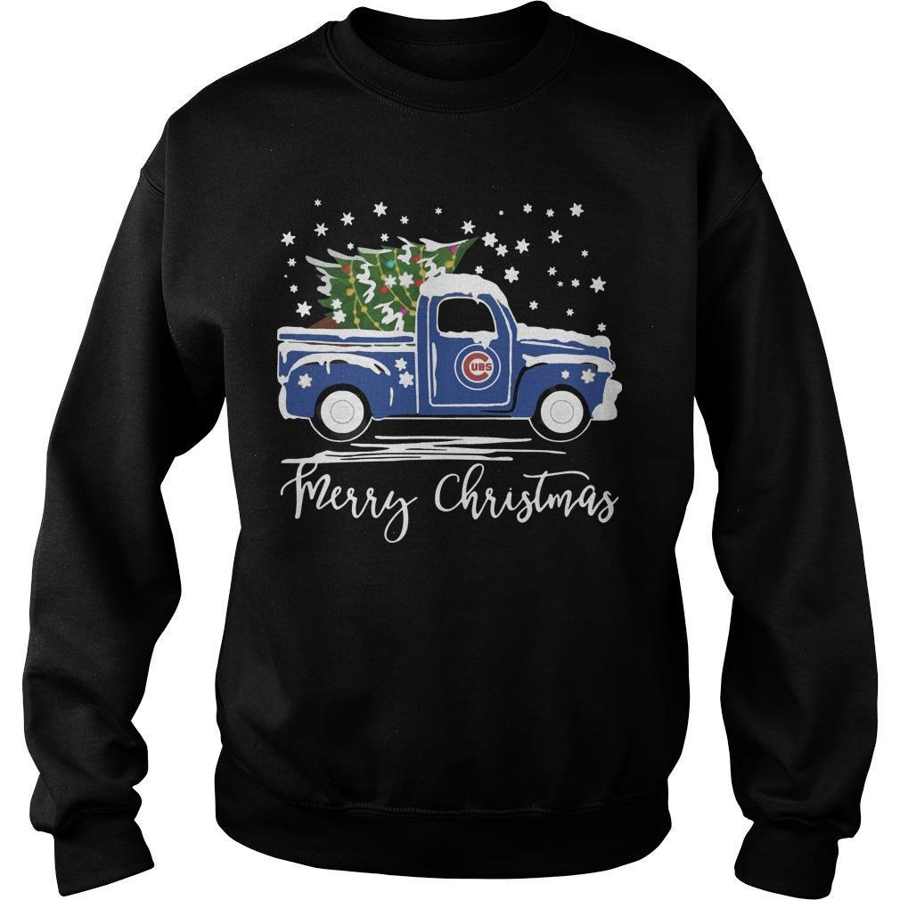 Chicago Cubs Truck Merry Christmas Sweater