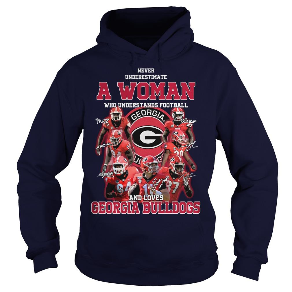 Never Underestimate A Girl Who Understands Football And Loves Georgia Bulldogs Hoodie