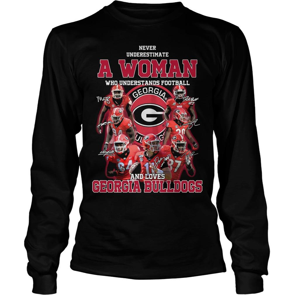 Never Underestimate A Girl Who Understands Football And Loves Georgia Bulldogs Longsleeve