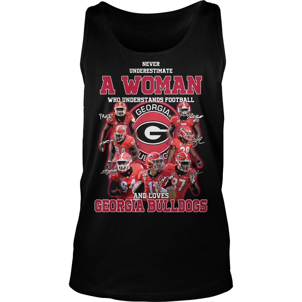 Never Underestimate A Girl Who Understands Football And Loves Georgia Bulldogs Tank Top