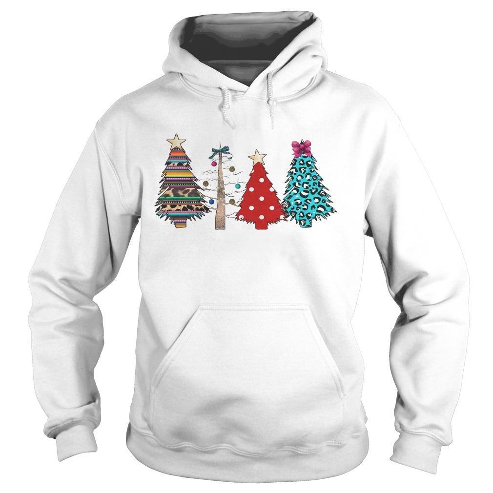 Printed Polka Dot Leopard Christmas Tree Hoodie
