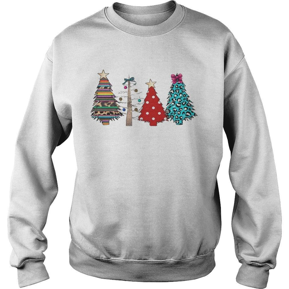 Printed Polka Dot Leopard Christmas Tree Sweater