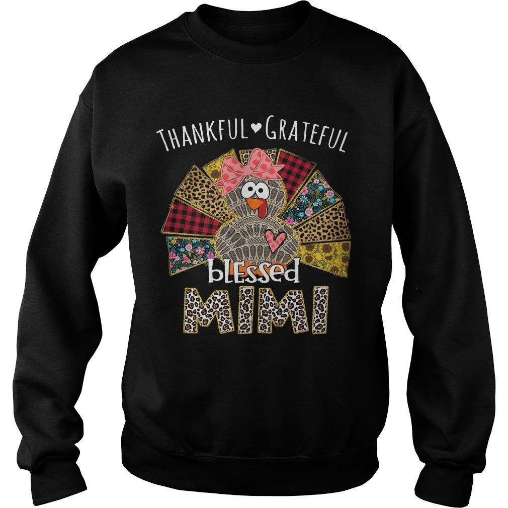 Turkey Leopard Print Thankful Grateful Blessed Mimi Sweater