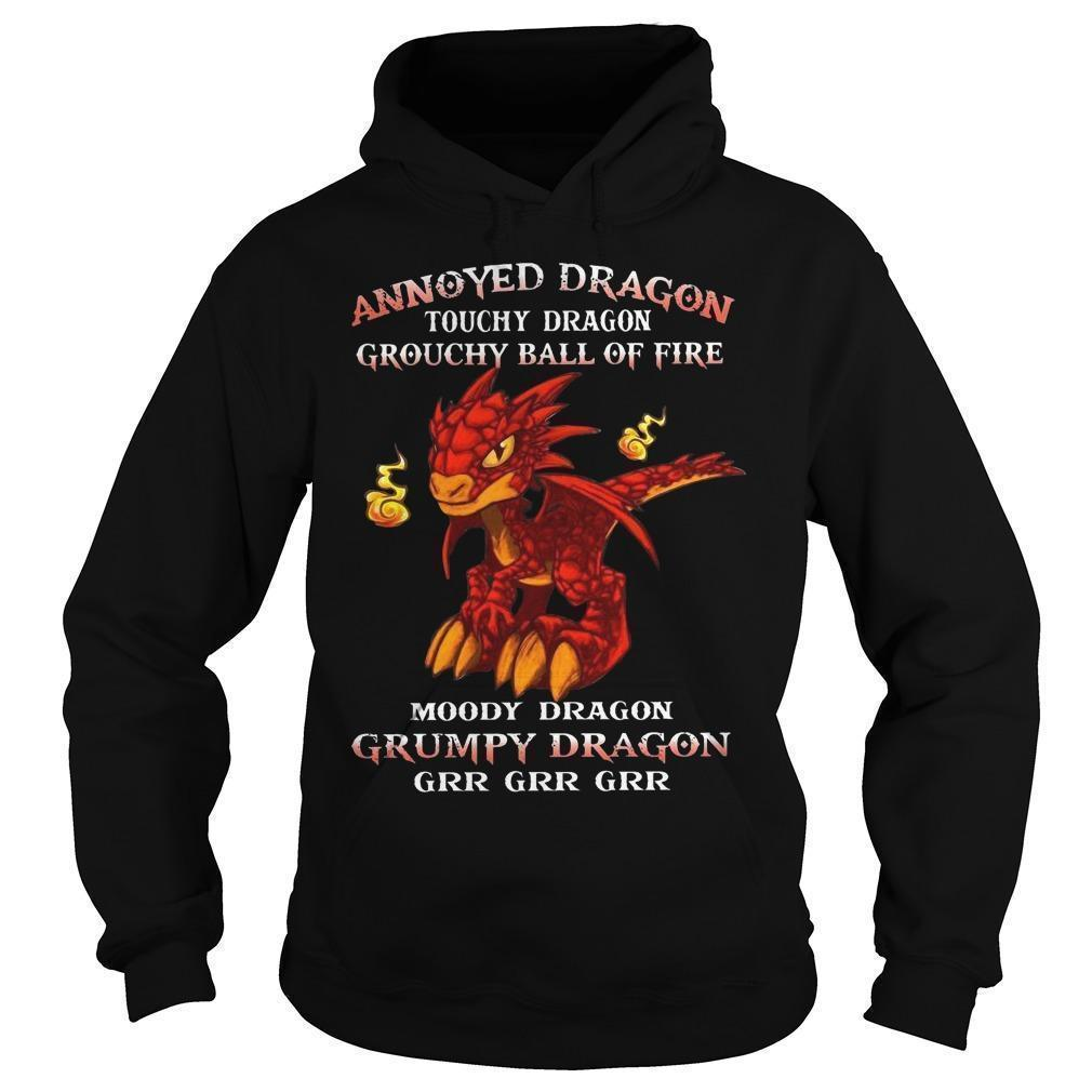 Annoyed Dragon Touchy Dragon Grouchy Ball Of Fire Grumpy Dragon Hoodie