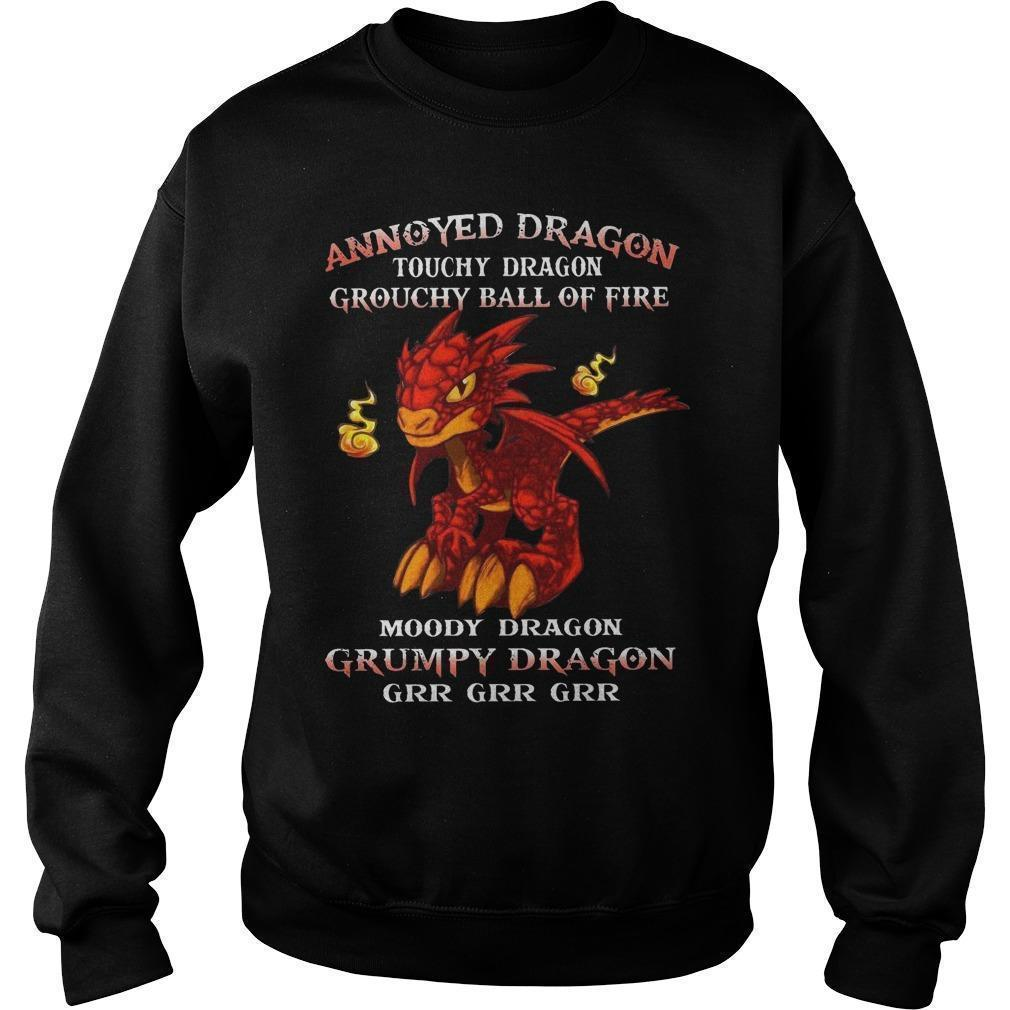 Annoyed Dragon Touchy Dragon Grouchy Ball Of Fire Grumpy Dragon Sweater