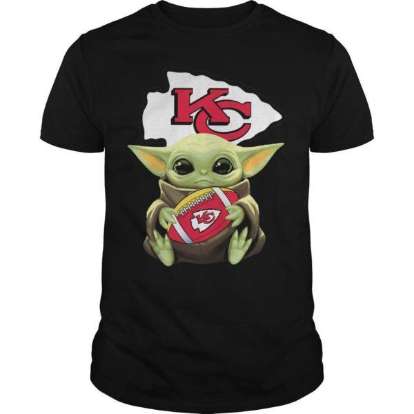 Baby Yoda Hugging Kansas City Chiefs Shirt