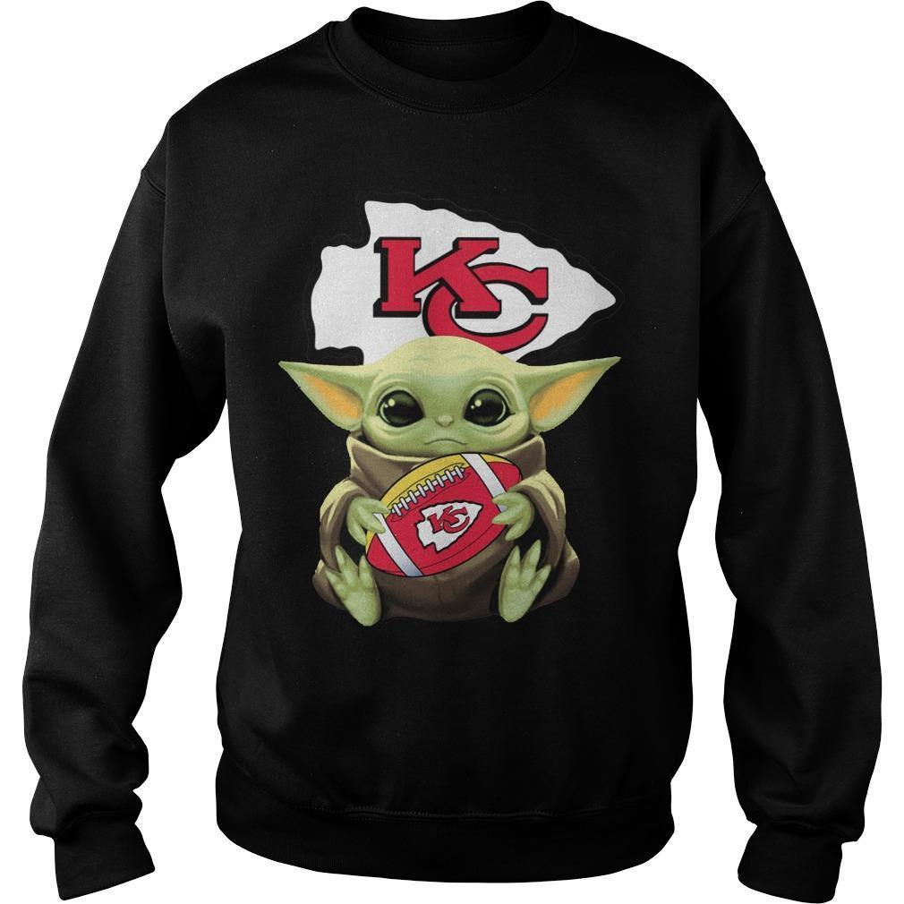 Baby Yoda Hugging Kansas City Chiefs Sweater
