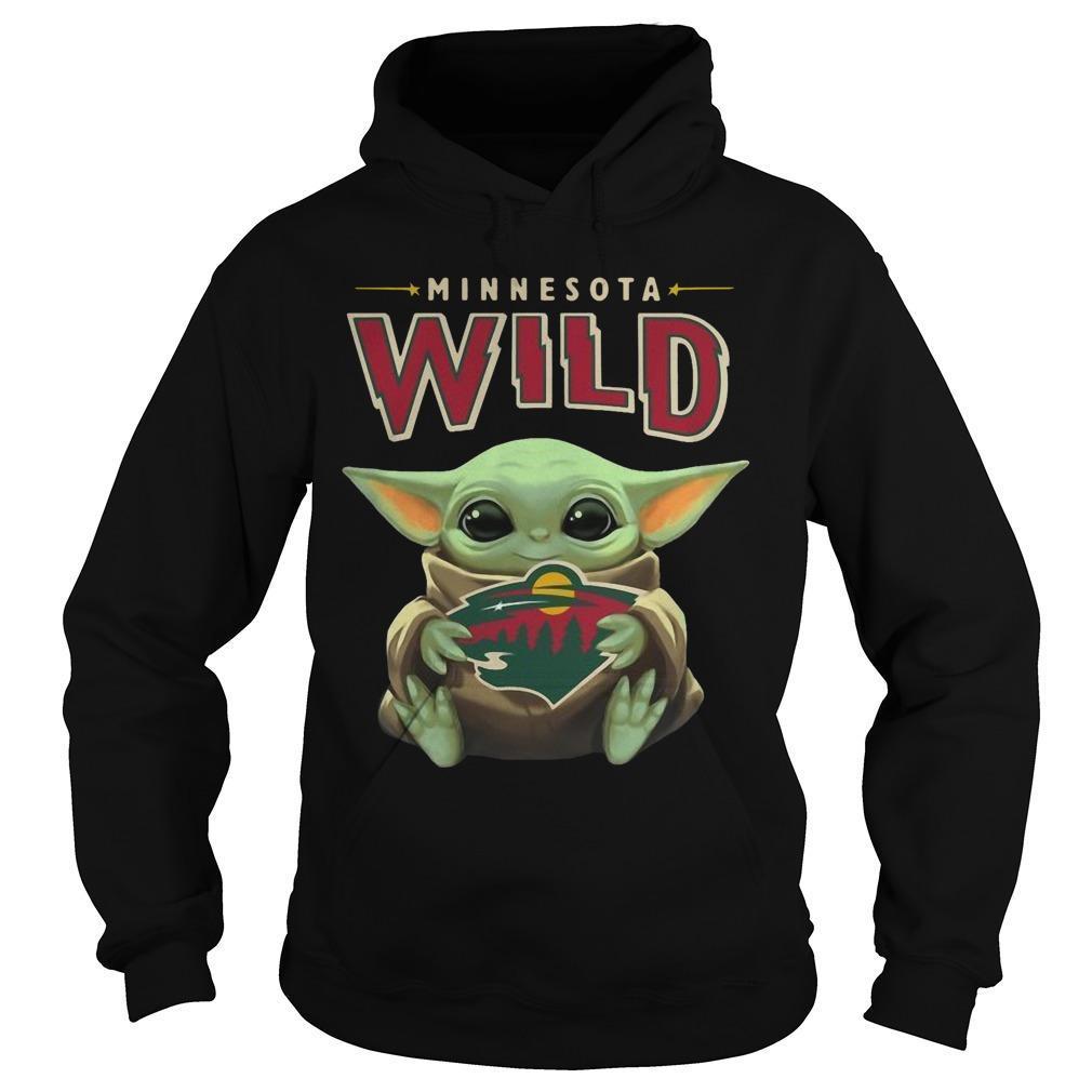 Baby Yoda Hugging Minnesota Wild Hoodie