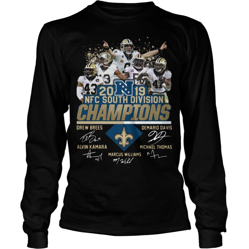 New Orleans Saints 2019 Nfc South Division Champions Signatures Longsleeve