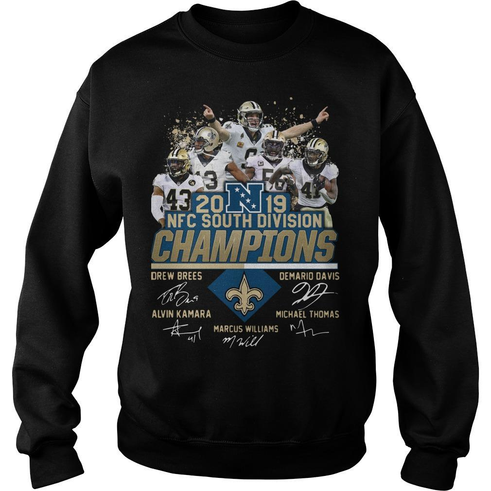 New Orleans Saints 2019 Nfc South Division Champions Signatures Sweater