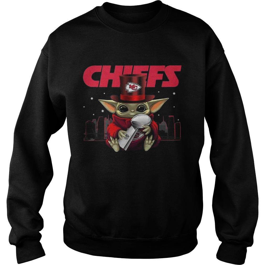 Baby Yoda Hugging Chiefs Champions Sweater
