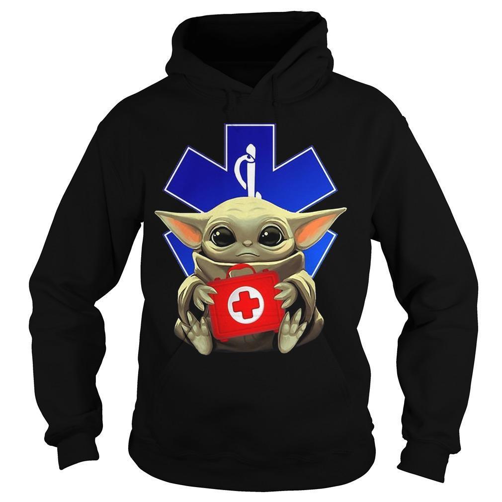 Baby Yoda Hugging Paramedic Hoodie