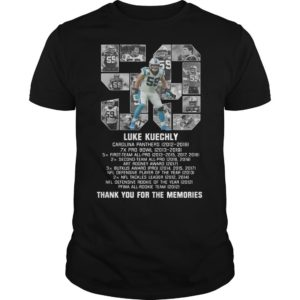 List Prize 59 Luke Kuechly Thank You For The Memories Shirt