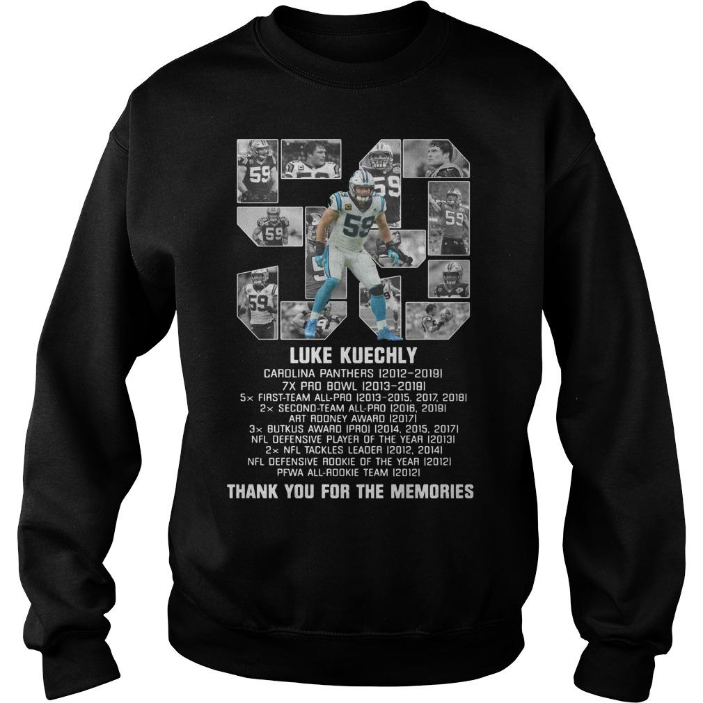 List Prize 59 Luke Kuechly Thank You For The Memories Sweater