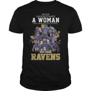 Never Underestimate A Woman Who Understands Football And Loves Ravens Shirt