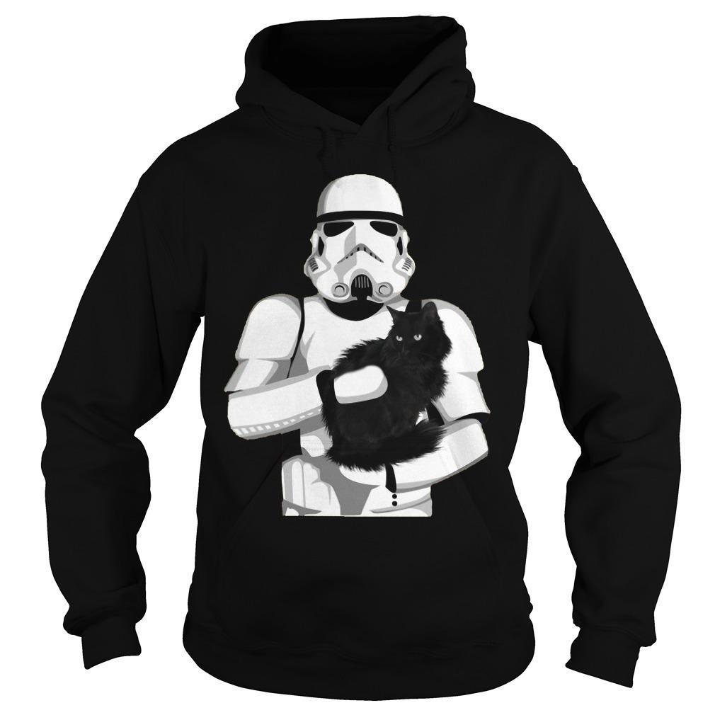 Stormtrooper Hugging Black Cat Hoodie