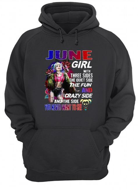 Bird Of Prey's Harley Quinn June Girl With Three Sides The Quiet Side The Fun Hoodie