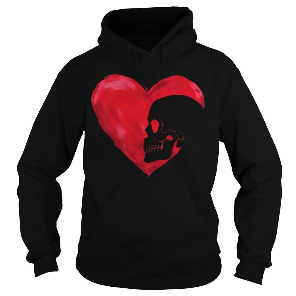 Skull Red Heart Hoodie