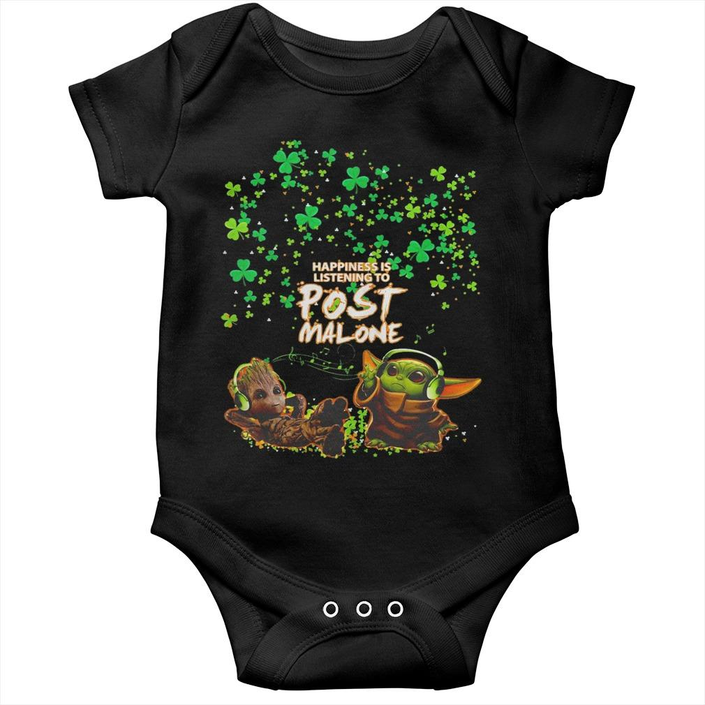 St Patrick's Day Baby Yoda Baby Groot Happiness Is Listening To Post Malone Longsleeve