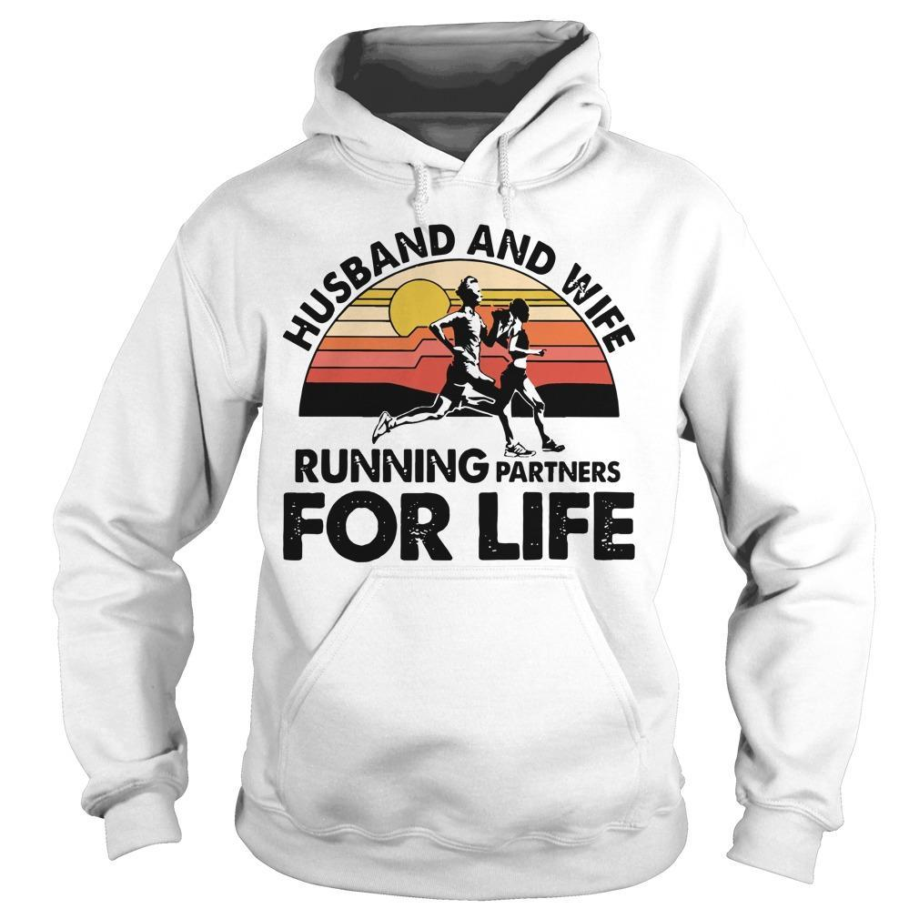 Vintage Husband And Wife Running Partners For Life Hoodie