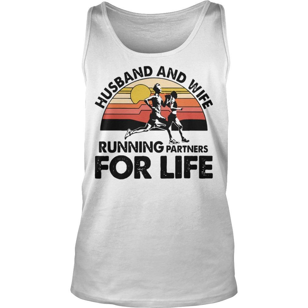 Vintage Husband And Wife Running Partners For Life Tank Top