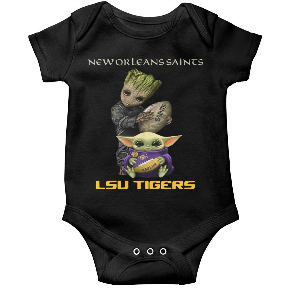 Baby Groot And Baby Yoda New Orleans Saints Lsu Tigers Longsleeve