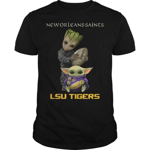 Baby Groot And Baby Yoda New Orleans Saints Lsu Tigers Shirt
