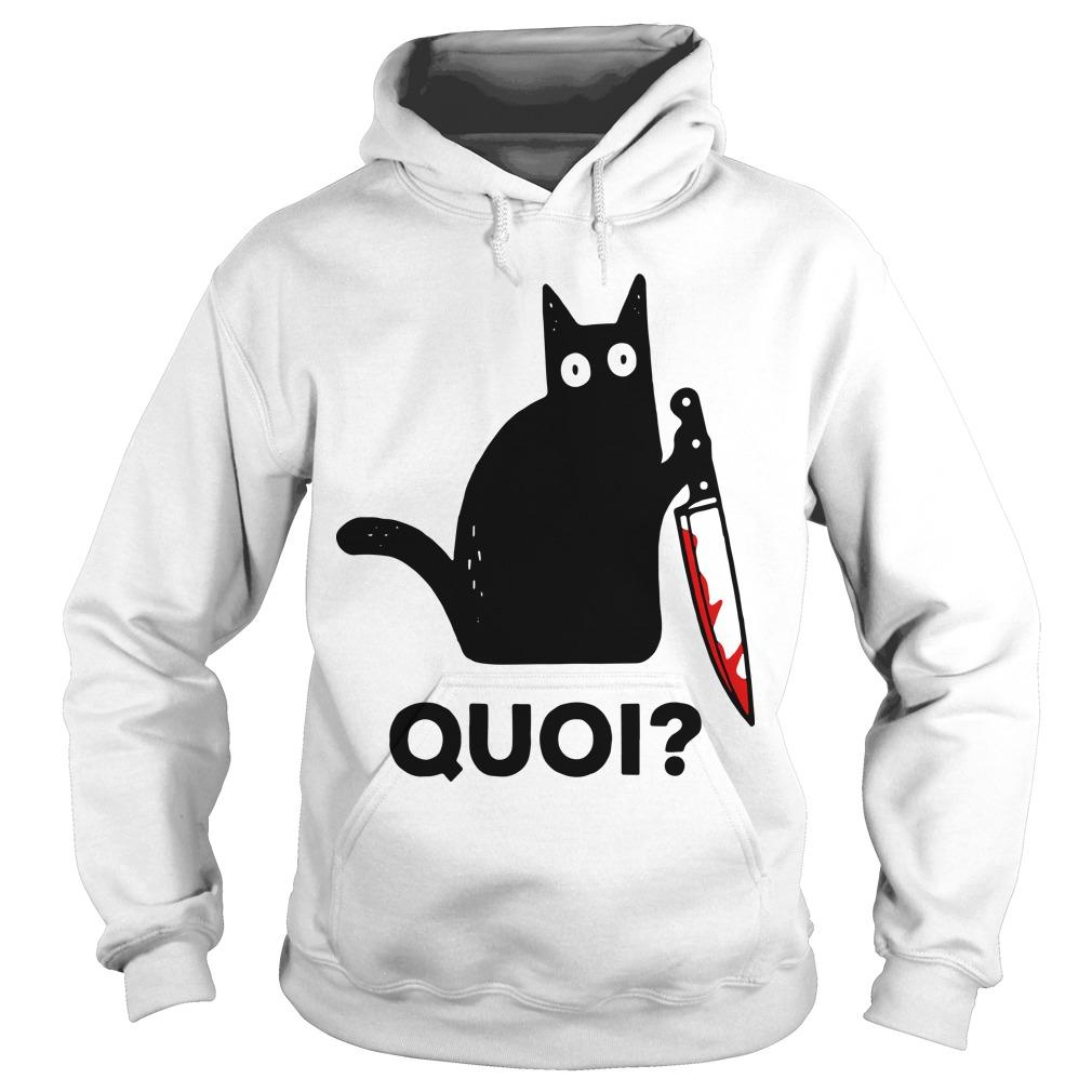 Black Cat Holding Knife Quoi Hoodie