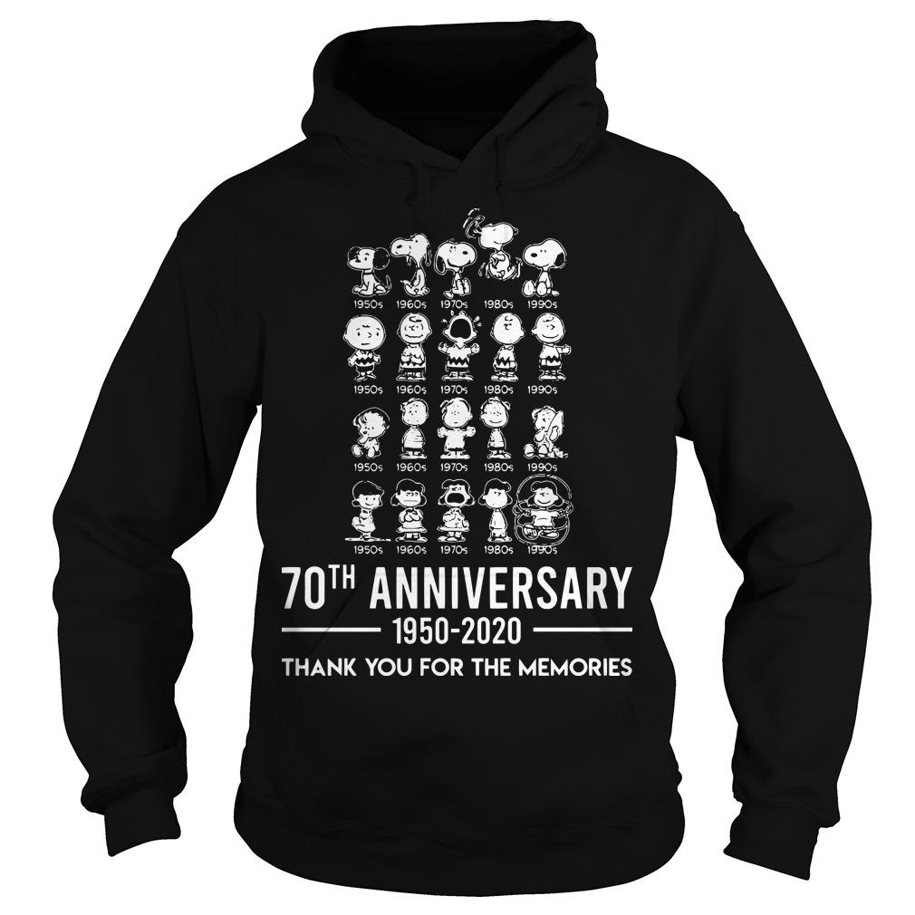 Peanuts 70th Anniversary 1950 2020 Thank You For The Memories Hoodie