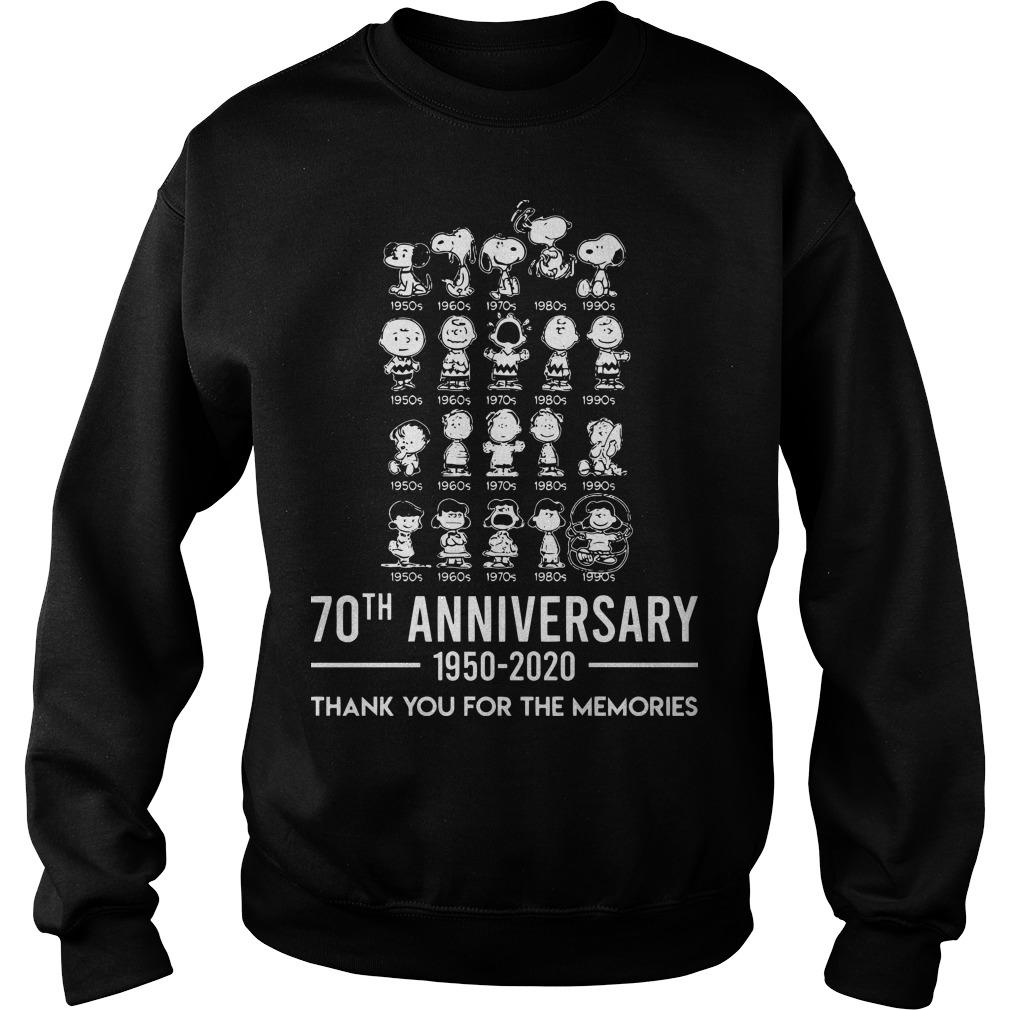 Peanuts 70th Anniversary 1950 2020 Thank You For The Memories Sweater