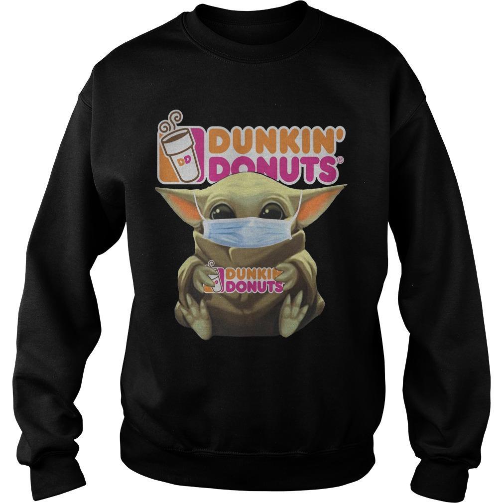 Baby Yoda Wearing Mask Dunkin' Donuts Sweater