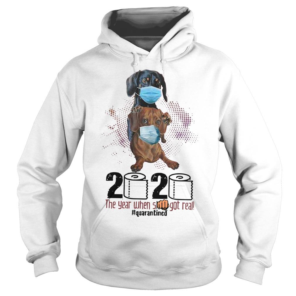 Dachshund Wearing Mask 2020 The Year When Shit Got Real Hoodie